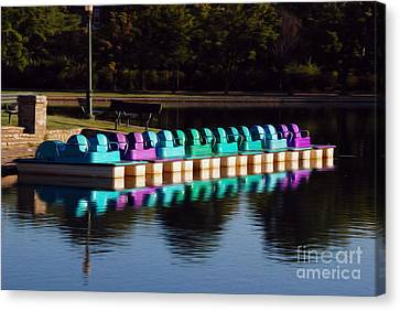 Canvas Print featuring the digital art Paddle Boats by Kelvin Booker