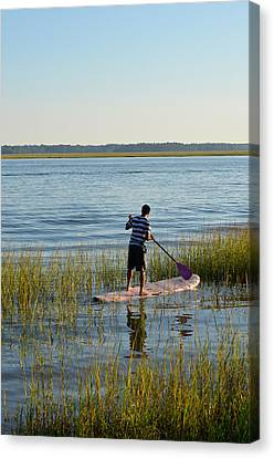 Canvas Print featuring the photograph Paddleboarder by Margaret Palmer