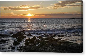 Paddlers At Sunset Horizontal Canvas Print by Denise Bird