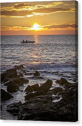 Paddlers At Sunset Portrait Canvas Print