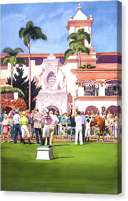 Paddock At Del Mar Canvas Print by Mary Helmreich