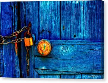 Padlocked Blue Wooden Door Canvas Print