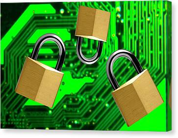Padlocks And A Circuit Board Canvas Print