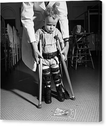 Crutch Canvas Print - Paediatric Physical Therapy by Library Of Congress