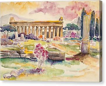 Paestum In Spring Canvas Print by Barbara Pommerenke
