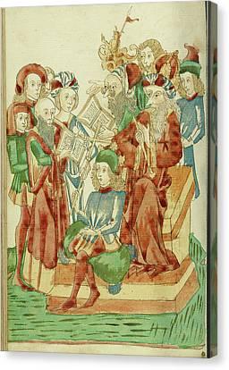 Pagan And Christian Scholars Debating Before King Avenir Canvas Print