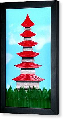 Canvas Print featuring the mixed media Pagoda by Ron Davidson
