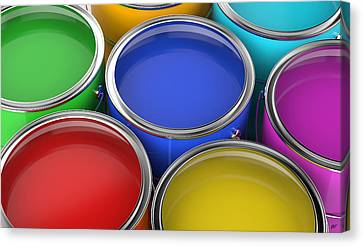 Paint Cans Open Canvas Print by Bruno Haver