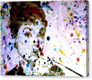 Canvas Print featuring the digital art Paint Drops by Brian Reaves