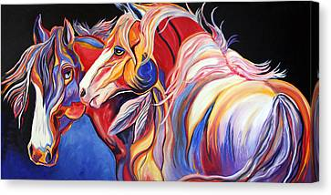 Abstract Equine Canvas Print - Paint Horse Colorful Spirits by Jennifer Godshalk
