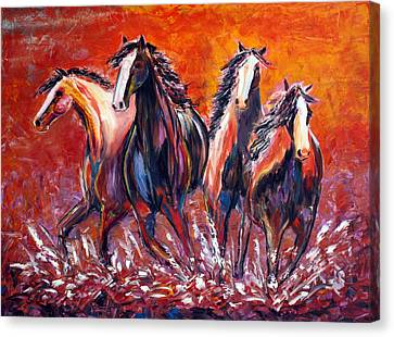 Canvas Print featuring the painting Paint Horse Stampede by Jennifer Godshalk