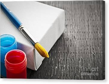 Paintbrush On Canvas Canvas Print by Elena Elisseeva