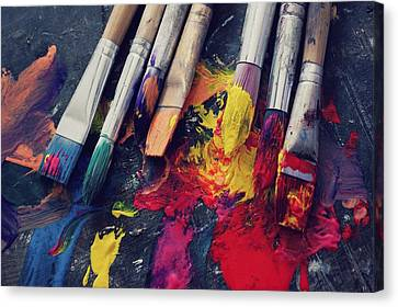 Paintbrushes  Canvas Print by Bella  Harris