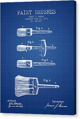 Vintage Painter Canvas Print - Paintbrushes Patent From 1873 - Blueprint by Aged Pixel