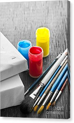 Paintbrushes With Canvas Canvas Print by Elena Elisseeva