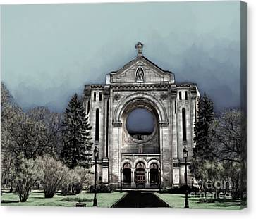 Canvas Print featuring the digital art Painted Basilica 2 by Teresa Zieba