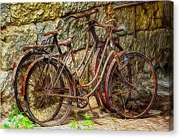 Painted Bikes Canvas Print by Debra and Dave Vanderlaan