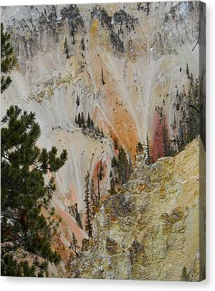 Canvas Print featuring the photograph Painted Canyon At Lower Falls by Michele Myers
