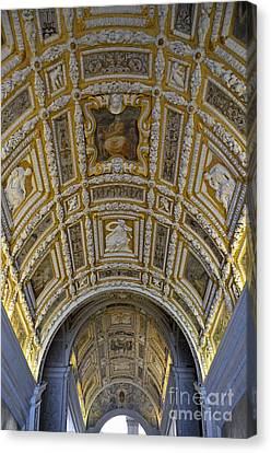 Painted Ceiling Of Staircase In Doges Palace Canvas Print by Sami Sarkis