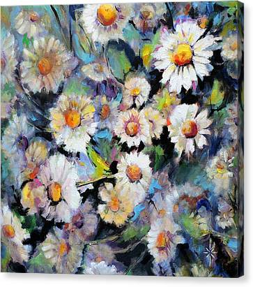 Painted Daisy Canvas Print by Jodie Marie Anne Richardson Traugott          aka jm-ART