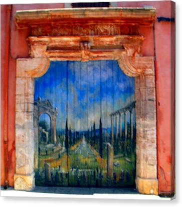 Painted Door In Roussillon Canvas Print by Manuela Constantin