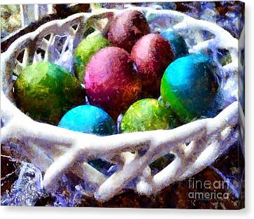 Painted Easter Eggs In A Basket Canvas Print by Janine Riley