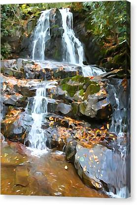 Painted Falls In The Smokies Canvas Print by Dan Sproul