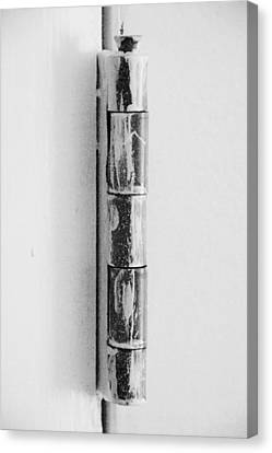 Painted Hinge In Black And White Canvas Print by Rob Hans