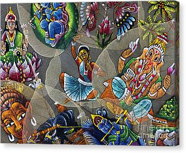 Painted Indian Bodhi Leaves Canvas Print by Tim Gainey