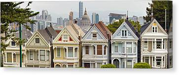Painted Ladies Row Houses By Alamo Square Canvas Print by Jit Lim