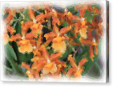 Painted Orchids Canvas Print by Rosalie Scanlon
