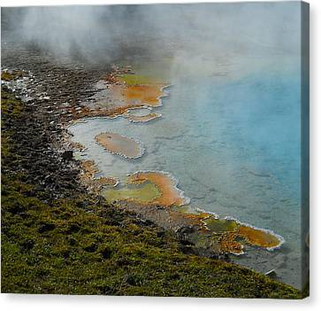Canvas Print featuring the photograph Painted Pool Of Yellowstone by Michele Myers