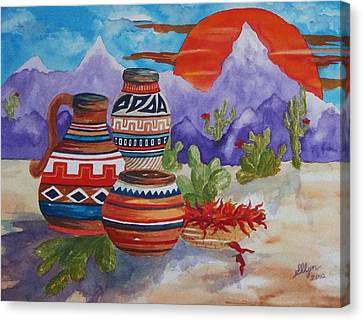 Painted Pots And Chili Peppers Canvas Print by Ellen Levinson