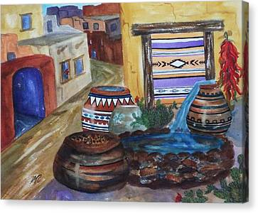 Painted Pots And Chili Peppers II  Canvas Print by Ellen Levinson