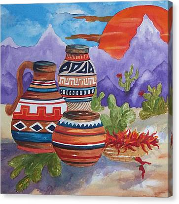 Interior Still Life Canvas Print - Painted Pottery And Chili Peppers Square by Ellen Levinson