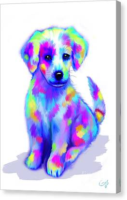 Painted Pup Canvas Print by Nick Gustafson