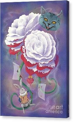 Painted Roses For Wonderland's Heartless Queen Canvas Print by Audra D Lemke