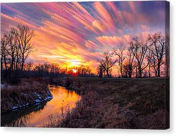 Painted Skies At Sunset Canvas Print by Jackie Novak