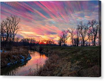 Painted Sky Of Pink And Blue Canvas Print by Jackie Novak