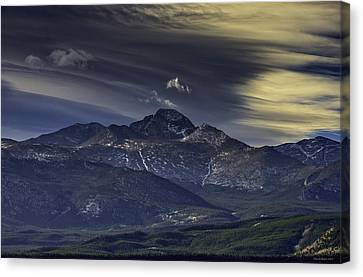 Painted Sky Over Longs Peak Canvas Print by Tom Wilbert