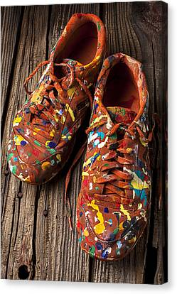 Tennis Shoe Canvas Print - Painted Tennis Shoes by Garry Gay