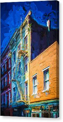 Painted Urban Street Canvas Print by Perry Webster