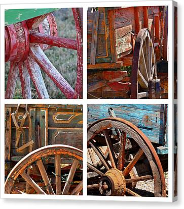 Wagon Wheels Canvas Print - Painted Wagons by Art Block Collections