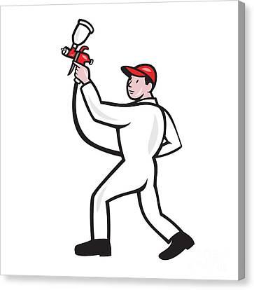 Painter Spray Paint Gun Side Cartoon Canvas Print by Aloysius Patrimonio
