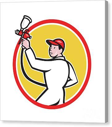 Painter Spray Paint Gun Side Circle Cartoon Canvas Print by Aloysius Patrimonio