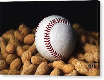 Painterly Baseball And Peanuts Canvas Print