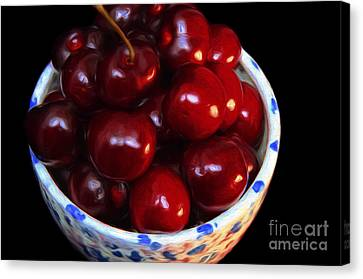 Painterly Bowl Of Cherries Canvas Print