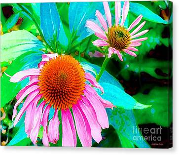 Painterly Coneflowers Canvas Print