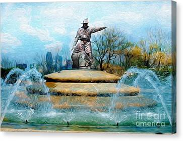 Painterly Firefighters Memorial Fountain  Canvas Print