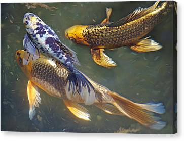 Canvas Print featuring the photograph Painterly Fishpond by Adria Trail